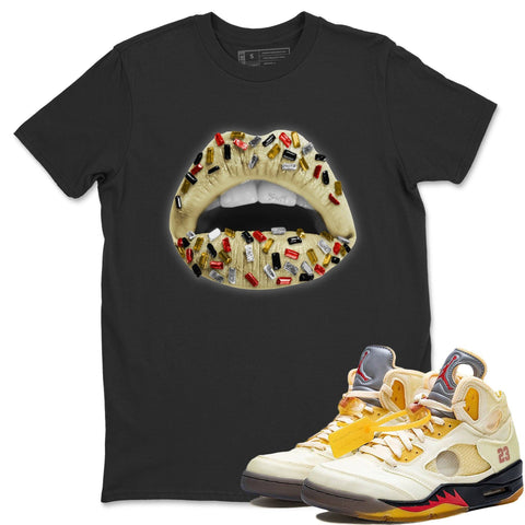 Air Jordan 5 Off White Sail Fire Red Collabs Sneaker Short Sleeve Shirts And Outfits Lips Jewel Black T-shirt