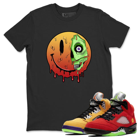Air Jordan 5 Retro What The Red Yellow  Sneaker Tees And Sneaker Matching Outfits Dead Inside Black Short Sleeve T Shirt Image