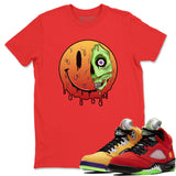 Air Jordan 5 Retro What The Red Yellow Sneaker Tees And Sneaker Matching Outfits Dead Inside Red Short Sleeve T Shirt Image