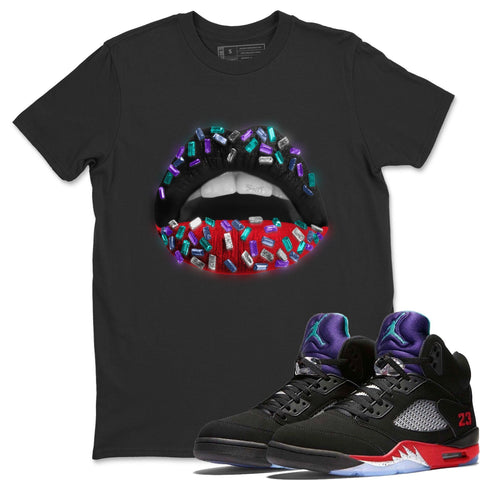 Lips Jewel T-Shirt - Air Jordan 5 Top 3 Air Jordan 5 Shirt Jordan 5 Top 3 Black S