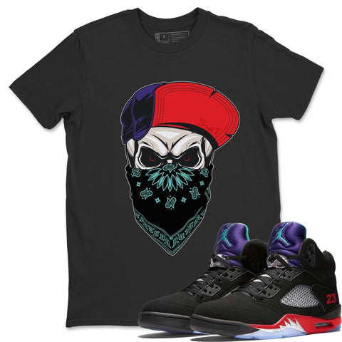 Skull Hat Mask T-Shirt - Air Jordan 5 Top 3 Air Jordan 5 Shirt Jordan 5 Top 3 Black S