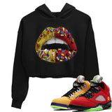 Air Jordan 5 Retro What The Red Yellow Sneaker Tees And Sneaker Matching Outfits Lips Jewel Black Unisex Cropped Hooded Pullover Image