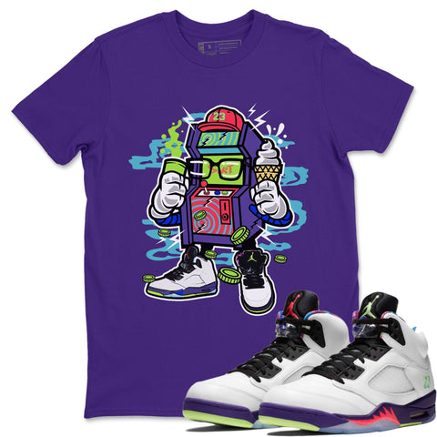 Arcade Machine T-Shirt - Air Jordan Ghost Green Air Jordan 5 Shirt Jordan 5 Ghost Green Purple S