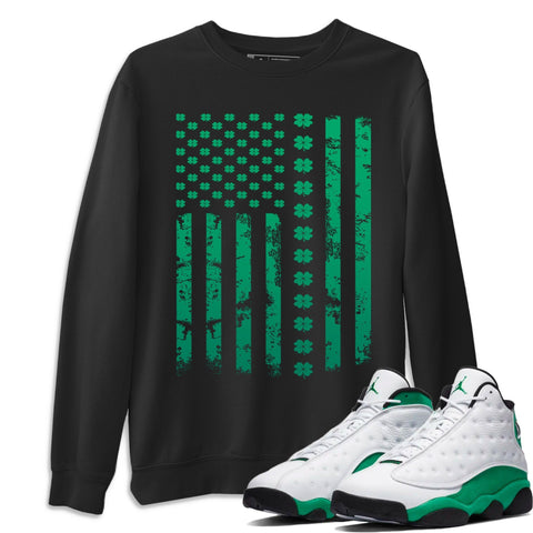 Air Jordan 13 Lucky Green American Flag Crew Neck Sweatshirt Matching St Patrick's Day AJ13 Lucky Green Outfits Black Long Sleeve Sweaters
