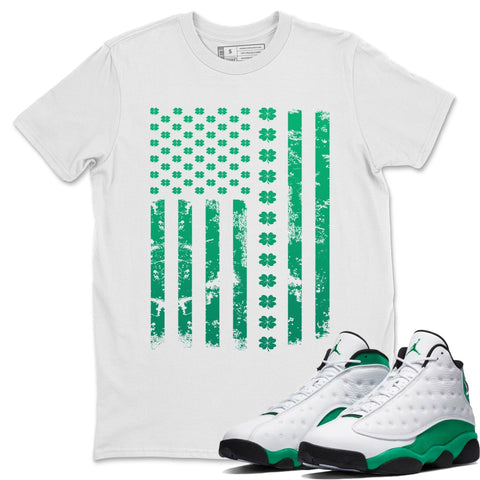 Air Jordan 13 Lucky Green American Flag Crew Neck T-Shirt Matching St Patrick's Day AJ13 Lucky Green Outfits White Short Sleeve Tees