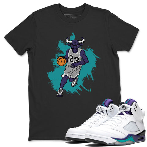 Bull Figure Black T-Shirt - Air Jordan 5 Grape Air Jordan 5 Shirt Jordan 5 Grape