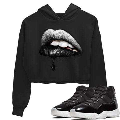 Air Jordan 11 Retro Jubilee 25th Anniversary Sneaker Long Sleeve Women Crop Hoodie And Outfits Dripping Lips Black Hoodies S