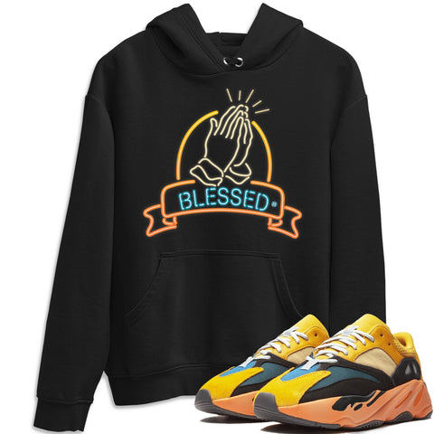 Adidas Yeezy 700 V1 Sun Sneaker Unisex Hoodie And Sneaker Matching Outfits Sun Black Orange Yeezy 700 V1 Blessed Blackr Hoodies Image