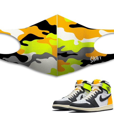 Air Jordan 1 Volt Gold Sneaker Matching Unisex Face Mask Camo design Mask
