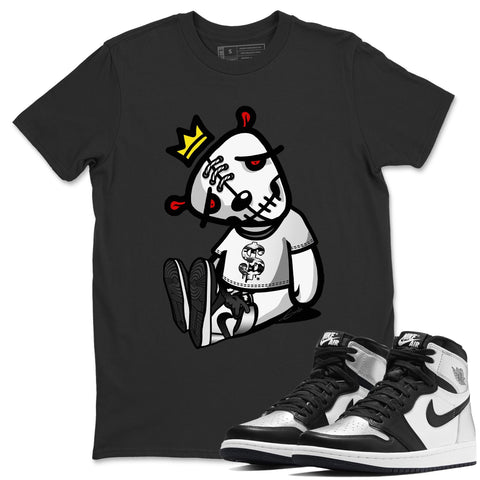 Air Jordan 1 High OG WMNS Silver Toe Dead Dolls Crew Neck T-Shirt Matching Unisex Outfits AJ1 Women's Silver Toe Image Black Short Sleeve Tees