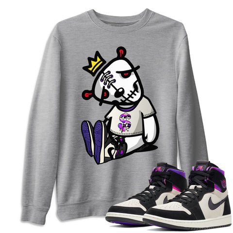 Air Jordan 1 Zoom Comfort Psg Dead Dolls Crew Neck Pullover Matching Unisex Outfits AJ1 Cmft Psg Saint Germain Image Heather Grey Long Sleeve Sweaters