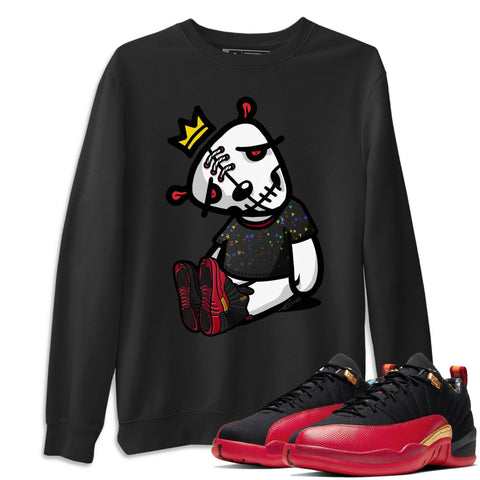Air Jordan 12 Low SE Super Bowl LV Dead Dolls Long Sleeve Sweatshirt Matching Pullover Outfits 12s Super Bowl Image Black Long Sleeve Sweaters