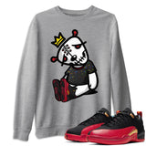 Air Jordan 12 Low SE Super Bowl LV Dead Dolls Long Sleeve Sweatshirt Matching Pullover Outfits 12s Super Bowl Image Heather Grey Long Sleeve Sweaters