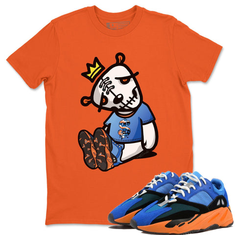 Adidas Yeezy Boost 700 Bright Blue Dead Dolls Crew Neck T-Shirt Sneaker Matching Unisex Outfits Yeezy 700 Bright Blue Sneaker Match Tee Image Orange Short Sleeve Tees