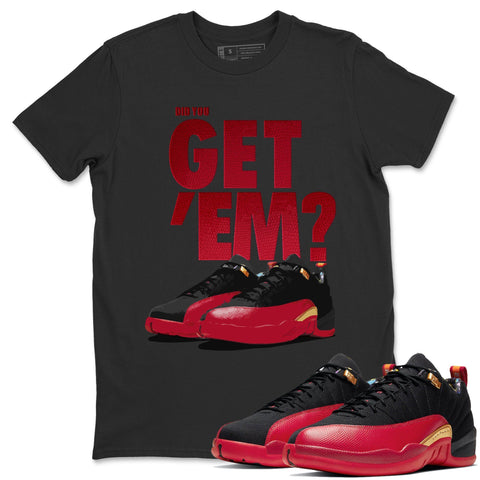 Air Jordan 12 Low SE Super Bowl Did You Get Em Crew Neck T-Shirt Matching Outfits 12s Super Bowl Image Black Short Sleeve Tees