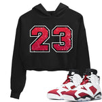 Jordan 6 Retro Carmine Distressed 23 WMNS Hoodie Matching Women's Outfits 6s Carmine Image Black Long Sleeve Sweaters