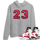 Jordan 6 Retro Carmine Distressed 23 Unisex Hoodie Matching Hoodies Outfits 6s Carmine Image Heather Grey Long Sleeve Sweaters