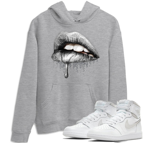 Air Jordan 1 High 85 Neutral Grey Dripping Lips Unisex Hoodie Matching Outfits AJ1 85 Neutral Grey Hoodies Image Heather Grey Long Sleeve Sweaters