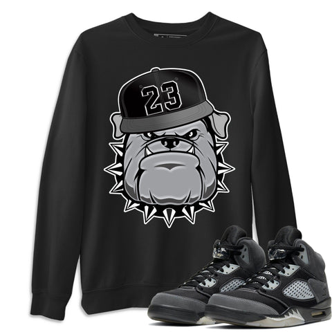 Air Jordan 5 Retro Anthracite English Bulldog Crew Neck Sweatshirt Matching Outfits AJ5 Anthracite Image Black Long Sleeve Sweaters