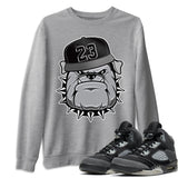 Air Jordan 5 Retro Anthracite English Bulldog Crew Neck Sweatshirt Matching Outfits AJ5 Anthracite Image Heather Grey Long Sleeve Sweaters