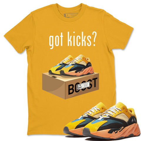 Adidas Yeezy 700 V1 Sun Sneaker Unisex Short Sleeve Shirts And Sneaker Matching Outfits Sun Black Orange Yeezy 700 V1 Got Kicks Gold Tee Image