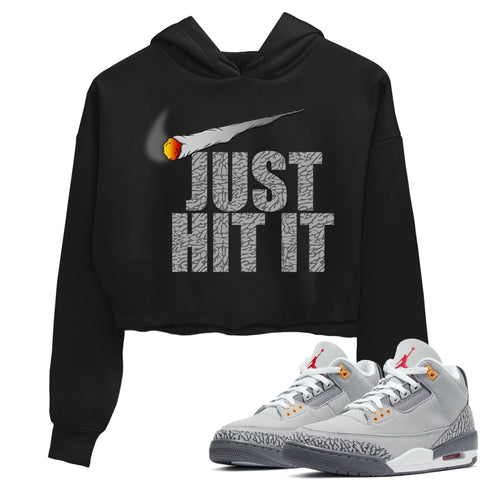 Air Jordan 3 Retro Cool Grey Just Hit It WMNS Crop Hoodie Matching Women's Outfits 3s Cool Grey Image Black Long Sleeve Sweaters