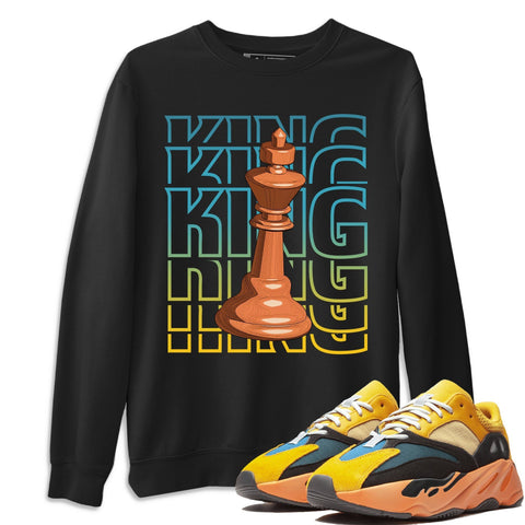 Adidas Yeezy 700 V1 Sun Sneaker Unisex Long Sleeve Crew Neck Sweatshirt And Sneaker Matching Outfits Sun Black Orange Yeezy 700 V1 King Black Pullover Image