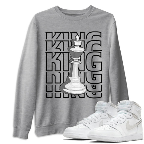 Air Jordan 1 High 85 Neutral Grey King Unisex Sweatshirt Matching Outfits 1s 85 Neutral Grey Image Heather Grey Long Sleeve Sweaters