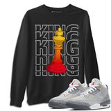 Air Jordan 3 Retro Cool Grey King Crew Neck Sweatshirt Matching Unisex Pullover Outfits AJ3 Cool Grey Image Black Long Sleeve Sweaters