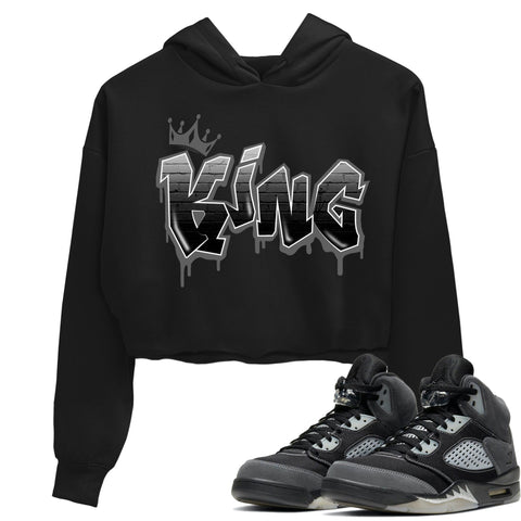 Air Jordan 5 Retro Anthracite King Graffiti WMNS Hoodie Matching Outfits AJ5 Anthracite Image Black Long Sleeve Hoodies