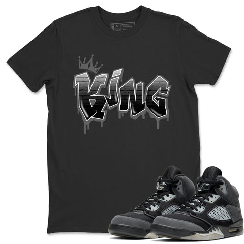 Air Jordan 5 Retro Anthracite King Graffiti Crew Neck T-Shirt Matching Outfits AJ5 Anthracite Image Black Short Sleeve Tees