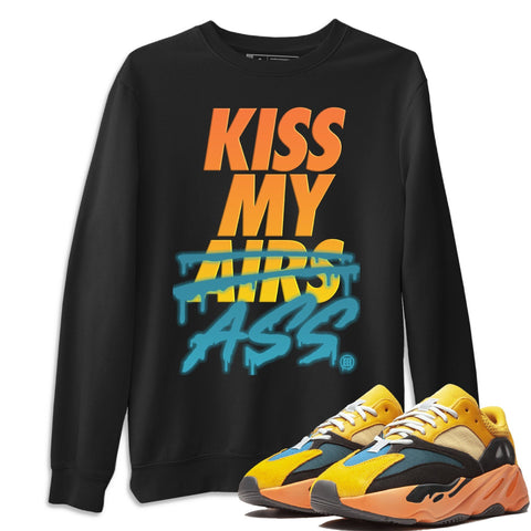 Adidas Yeezy 700 V1 Sun Sneaker Unisex Long Sleeve Crew Neck Sweatshirt And Sneaker Matching Outfits Sun Black Orange Yeezy 700 V1 Kiss My Ass Black Pullover Image