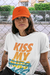 Adidas Yeezy 700 V1 Sun Sneaker Unisex Short Sleeve Shirts And Sneaker Matching Outfits Sun Black Orange Yeezy 700 V1 Kiss My Ass White Tee Image 3