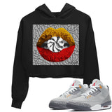 Air Jordan 3 Retro Cool Grey Lips Candy WMNS Crop Hoodie Matching Women's Hoodies Outfits AJ3 Cool Grey Image Black Long Sleeve Sweaters