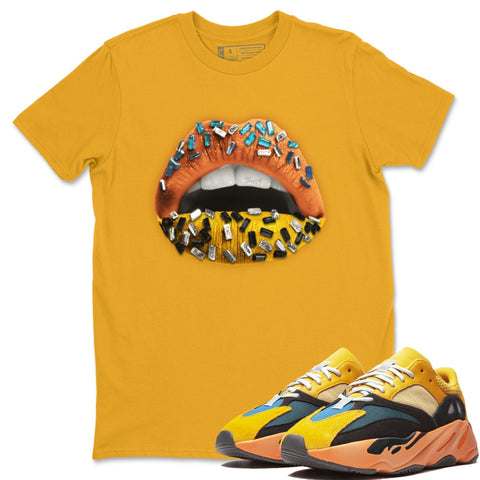 Adidas Yeezy 700 V1 Sun Sneaker Unisex Short Sleeve Shirts And Sneaker Matching Outfits Sun Black Orange Yeezy 700 V1 Lips Jewel Gold Tee Image