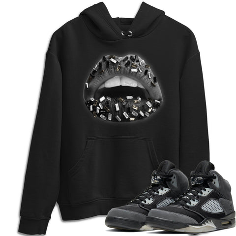 Air Jordan 5 Retro Anthracite Lips Jewel Crew Neck Hoodie Matching Outfits AJ5 Anthracite Image Black Long Sleeve Sweaters