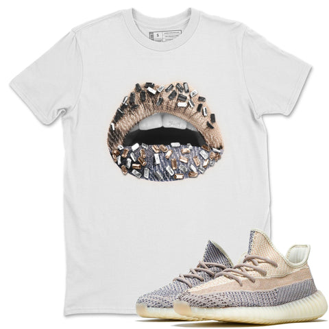 Yeezy 350 V2 Ash Pearl Lips Jewel Crew Neck T-Shirt Matching Unisex Outfits yeezys 350 V2 Ash Pearl Image White Short Sleeve Tees