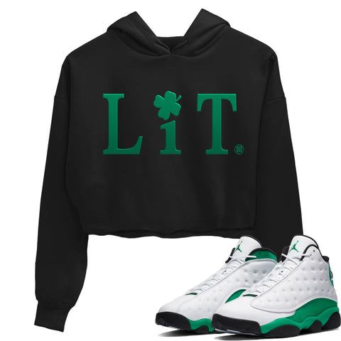 Air Jordan 13 Lucky Green Lit WMNS Crop Hoodie Matching St Patrick's Day Women's AJ13 Lucky Green Outfits Black Long Sleeve Sweaters