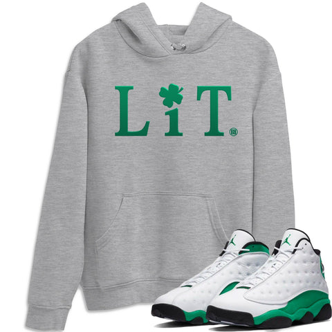 Air Jordan 13 Lucky Green Lit Crew Neck Sweatshirt Matching St Patrick's Day Unisex AJ13 Lucky Green Outfits Heather Grey Long Sleeve Sweaters