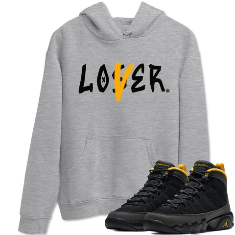 Loser Lover Unisex Hoodies - Air Jordan 9 Retro University Gold Sneaker Matching Outfits University Gold 9s Womens Long Sleeve Heather Grey AJ9 Hoodie S