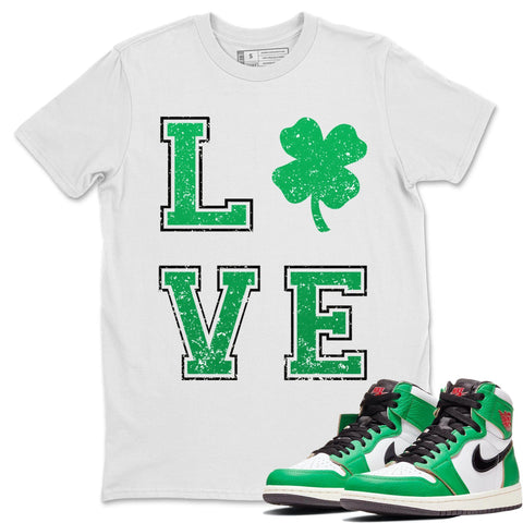 Air Jordan 1 WMNS Lucky Green LOVE Crew Neck T-Shirt Matching St Patrick's Day Outfits White Short Sleeve Tees