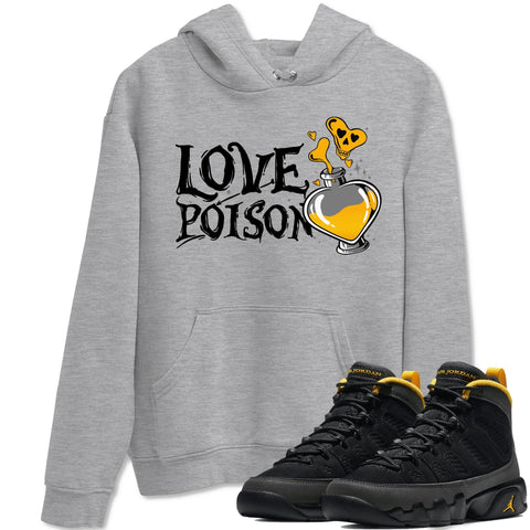 Love Poison Unisex Hoodies - Air Jordan 9 Retro University Gold Sneaker Matching Outfits University Gold 9s Womens Long Sleeve Heather Grey AJ9 Hoodie S