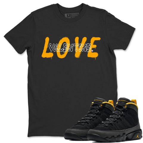 Air Jordan 9 Retro University Gold Sneaker Crew Neck Unisex T Shirt Matching Outfits AJ9 University Gold Love Valentine Short Sleeve Tees 9s Black Gold Image Black S
