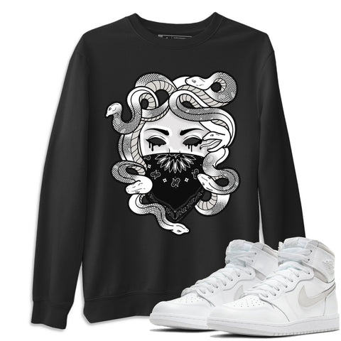 Air Jordan 1 High 85 Neutral Grey Medusa Unisex Sweatshirt Matching Outfits AJ1 85 Neutral Grey Pullover Image Black Long Sleeve Sweaters