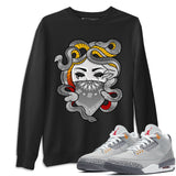 Air Jordan 3 Retro Cool Grey Medusa Crew Neck Sweatshirt Matching Unisex Tee Outfits AJ3 Cool Grey Image Black Long Sleeve Sweaters