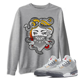 Air Jordan 3 Retro Cool Grey Medusa Crew Neck Sweatshirt Matching Unisex Tee Outfits AJ3 Cool Grey Image Heather Grey Long Sleeve Sweaters
