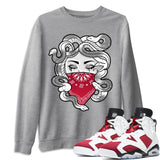 Air Jordan 6 Retro Carmine Medusa Long Sleeve Sweatshirt Matching Unisex Pullover Outfits 6s Carmine Image Heather Grey Long Sleeve Sweaters