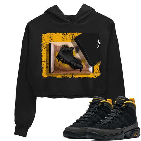 Air Jordan 9 Retro University Gold Black Sneaker Long Sleeve Women Crop Hoodie And Outfits 9s Womens New Kicks Black AJ9 WMNS Hoodies S