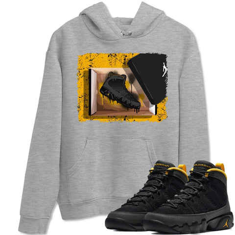 New Kicks Unisex Hoodies - Air Jordan 9 Retro University Gold Sneaker Matching Outfits University Gold 9s Womens Long Sleeve Heather Grey AJ9 Hoodie S