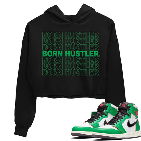 Air Jordan 1 Retro High OG Lucky Green Sneaker Crew Neck Long Sleebe Crop Womens Hoodie Born Hustler Black Hoodies S